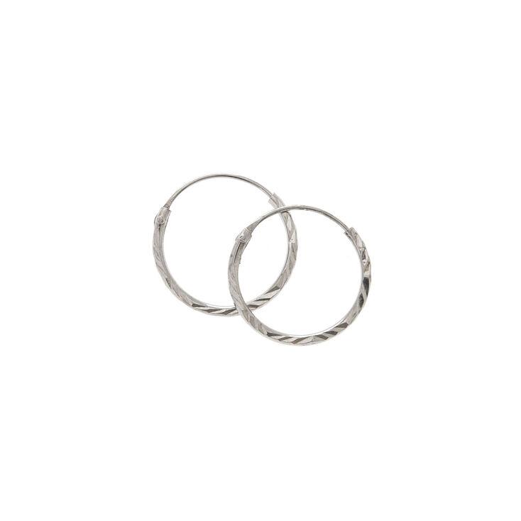Sterling Silver 12MM Dark Laser Cut Hoop Earrings,