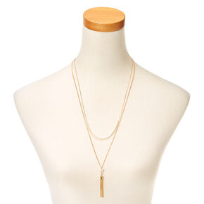 Gold-Tone Double Layer Necklace with Pearls and Tassel,