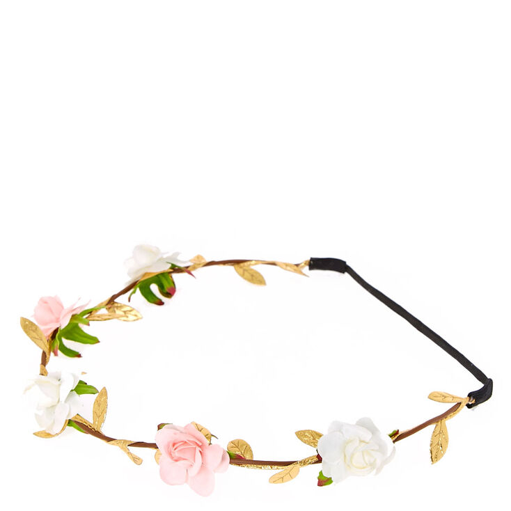 Pink & White Flower Rose Gold Leaves Headwrap,