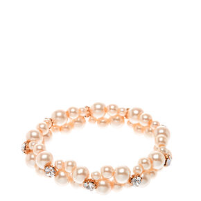 Double Row Faux Blush Pearl Bracelet,