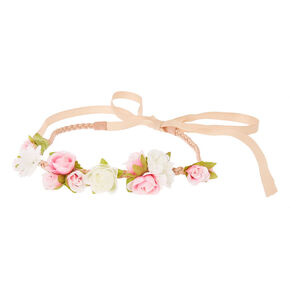 Pink & White Flower Clusters  Beige Faux Suede & Ribbon Headwrap,