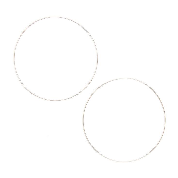 60mm Silver Tone Hoop Earrings,