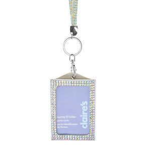 Iridescent Studded Lanyard Key ring ID Holder,