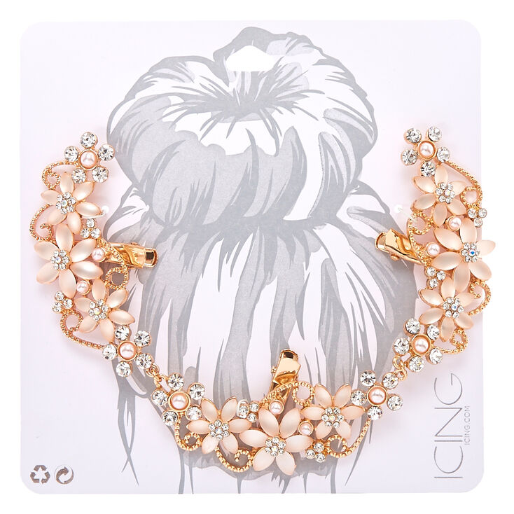 Frosted Crystal Flower Rose Gold-Tone Hair Swag,