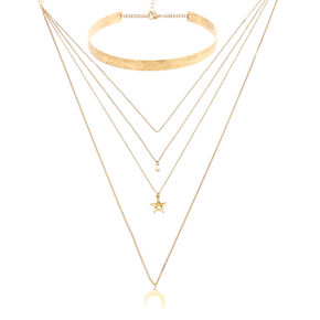 Distressed Gold Layered Choker Charm Necklace,