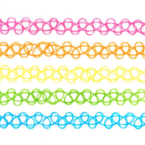 5 Pack Neon Tattoo Choker Necklaces,