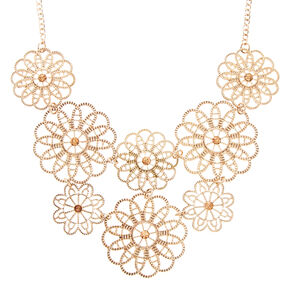Rose Gold Tone Layered Filigree Flowers Statement Necklace,