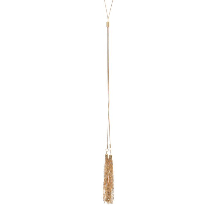 Gold Tassel Long Necklace,
