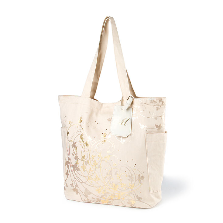 """Bridesmaid Canvas Tote Bag with """"M"""" Initial Tag,"""