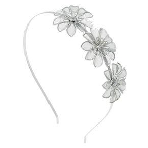 Silver Mesh Flower Headband,