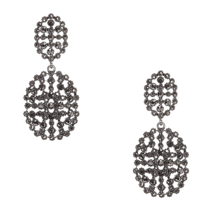 Black Gem Double Cage Dome Drop Earrings,