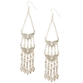 Antique Silver Tiered Drop Earrings,