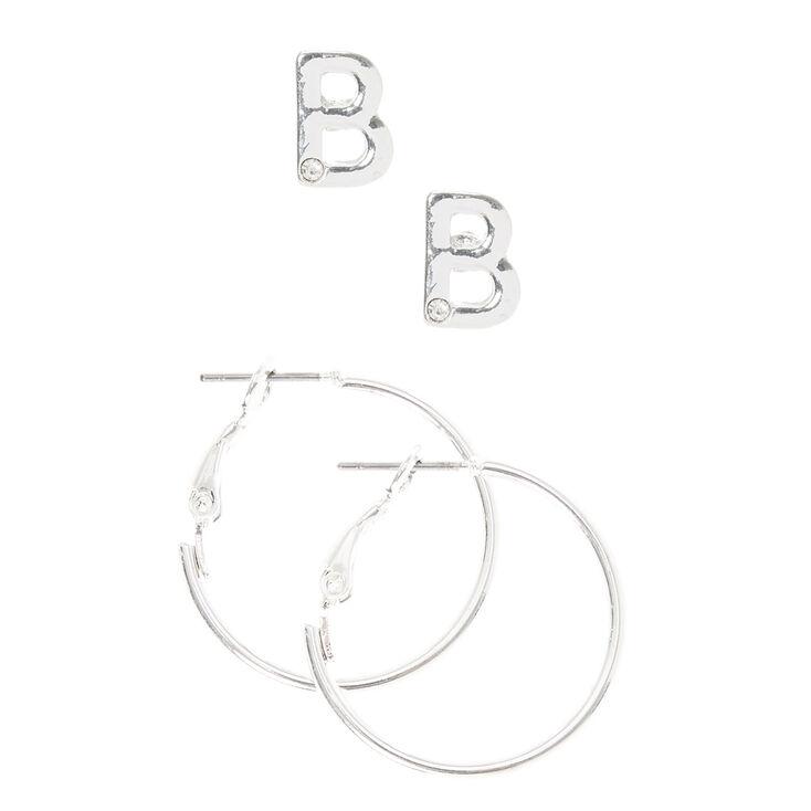 """Silver Initial """"B"""" Stud & Mini Hoop Earrings,"""