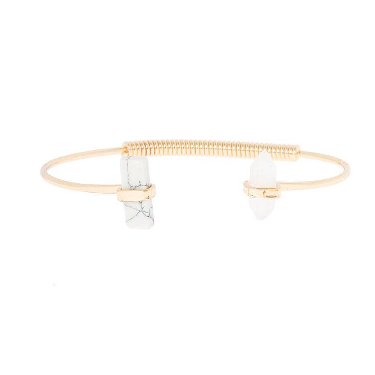 Howlite & Clear Stones Open Cuff Bracelet,