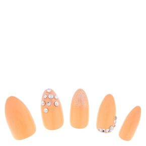 Nude Bling Fake Nails,
