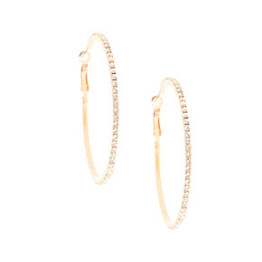 60MM Crystal Lined Rose Gold Hoop Earrings,