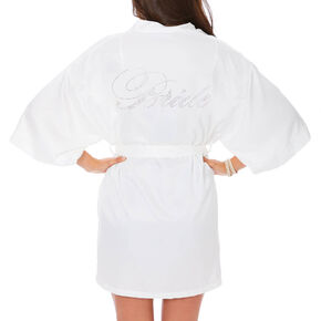 White Satin and Crystal Bride Robe,