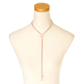 Metallic Pink Stars Y Chain Necklace,