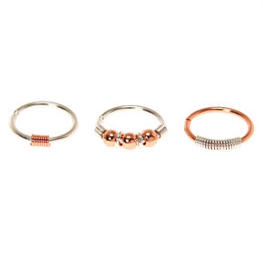 20G Rose Gold & Silver Mix Nose Rings,