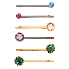 Anodized Stone Hair Barrettes,
