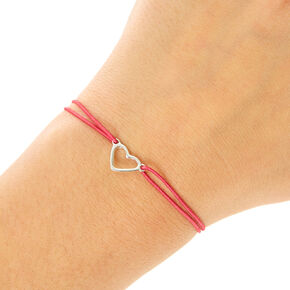 Pink Double Stretch Bracelet with Silver Heart,