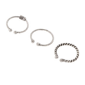 Assorted Texture Silver Faux Nose Hoops Set of 3,
