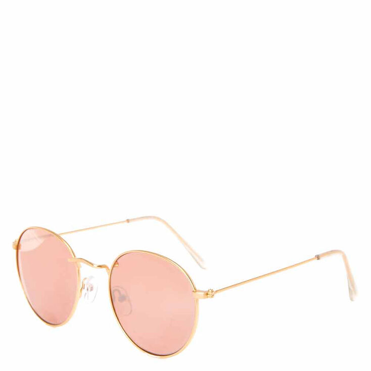Round Gold-Toned Sunglasses,