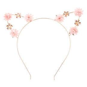 Pastel Pink Petal Cat Ears Headband,