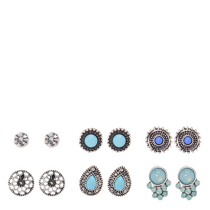 Silver & Turquoise Festival Stud Earrings,