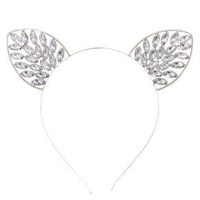 Hematite Bling Cat Ears Headband,