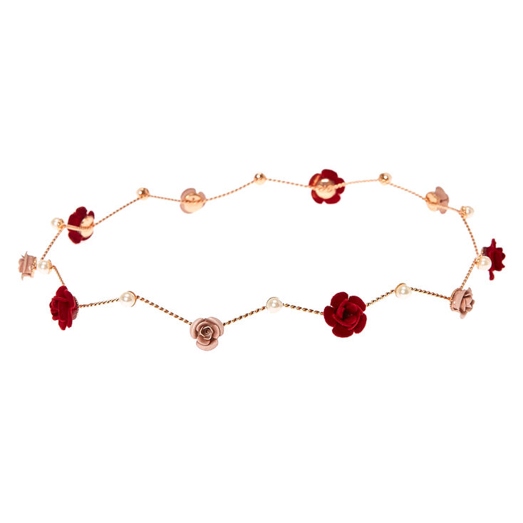 Rose Gold Burgundy Pearl Flower Crown,