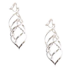 Silver-tone Ribbon Curl Clip-on Drop Earrings,