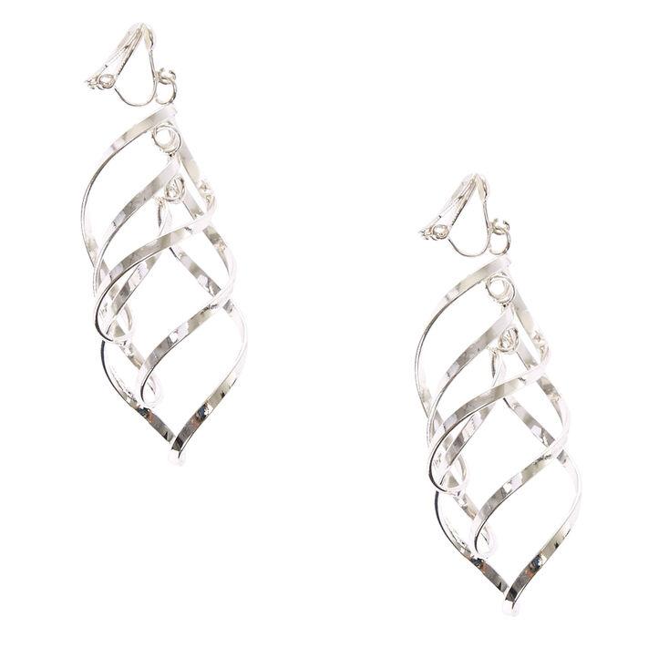 Silver Tone Ribbon Curl Clip-on Drop Earrings,