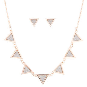 Rose Gold And Silver Glitter Triangle Jewelry Set,