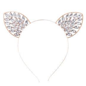 Rose Gold Bling Cat Ears Headband,