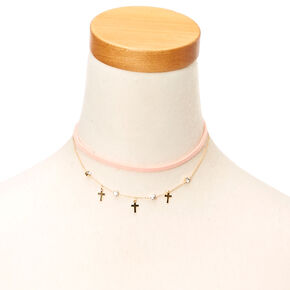 Cross and Suede Choker Necklace Set,
