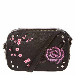 Black Faux Leather Crossbody Camera Bag,
