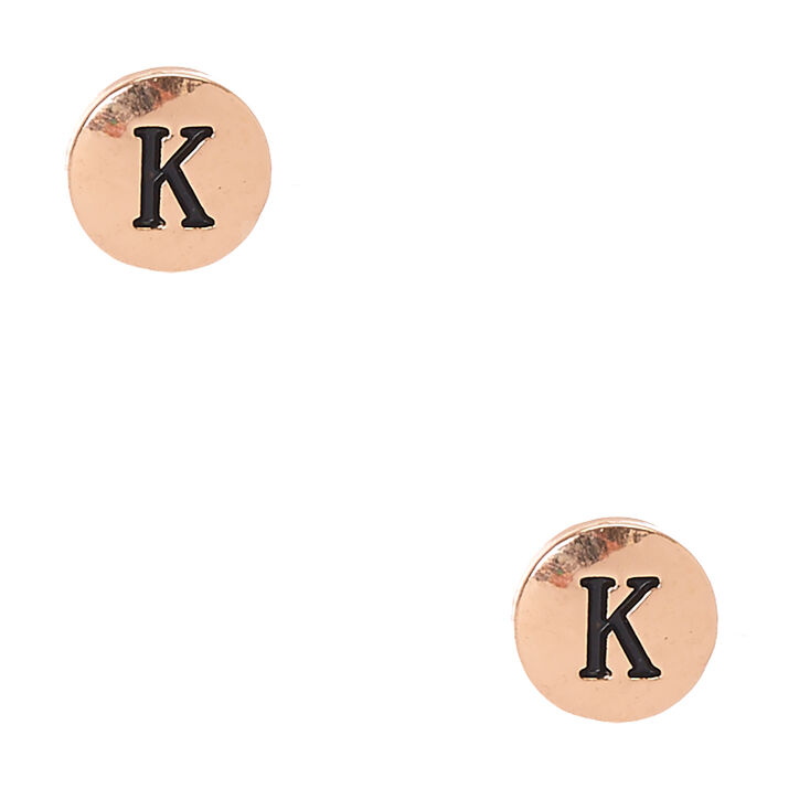 "Initial ""K"" Engraved Gold Tone Circle Stud Earrings,"