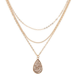 Rose Gold Druzy Pendant Necklace,