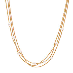 Gold-Tone Layered Necklace with Faux Pearls,
