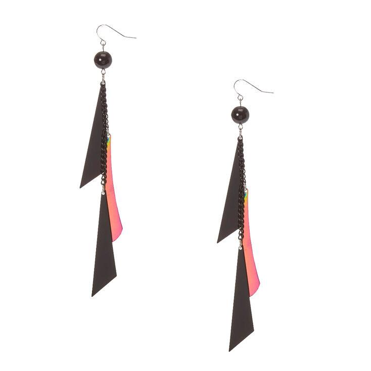 Black & Mirrored Geometric Fringe Drop Earrings,