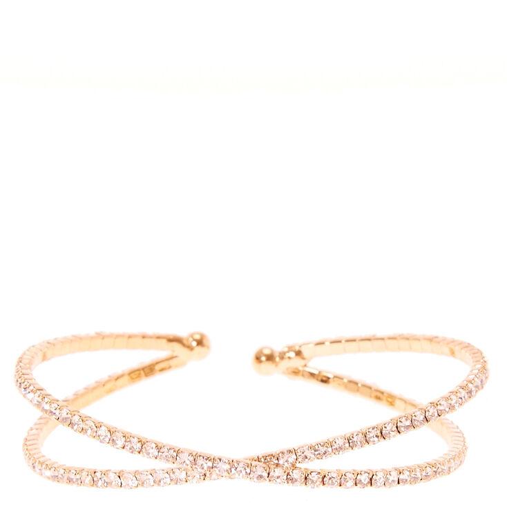 Rose Gold Rhinestone Criss Cross Bracelet,