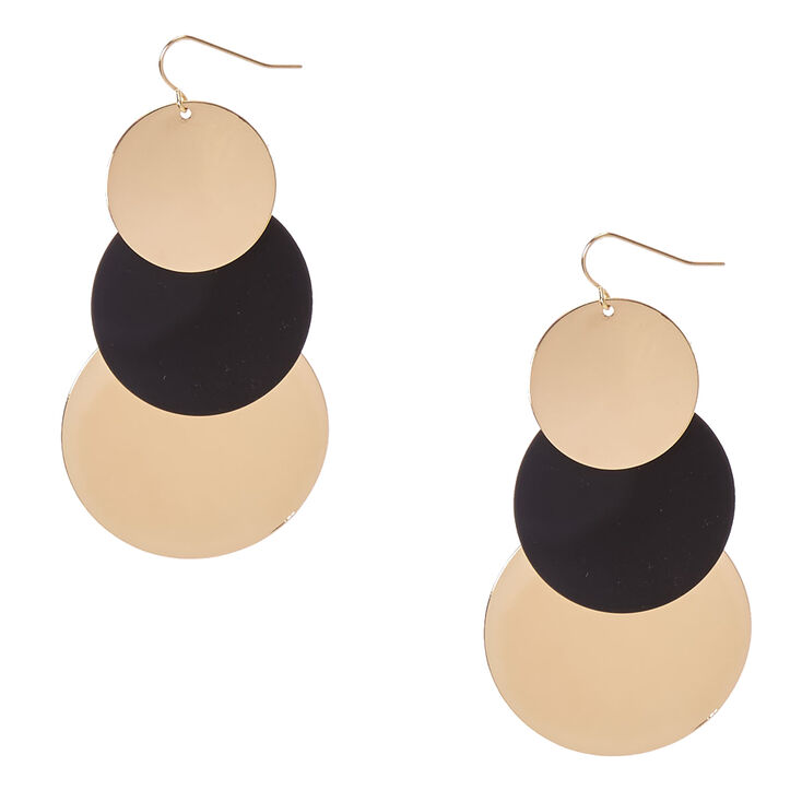 Gold & Black Disc Drop Earrings,