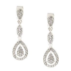 Silver-tone Faux Crystal Teardrop Clip on Drop Earrings,