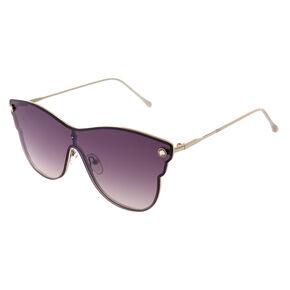 Black Rimless Futuristic Sunglasses,