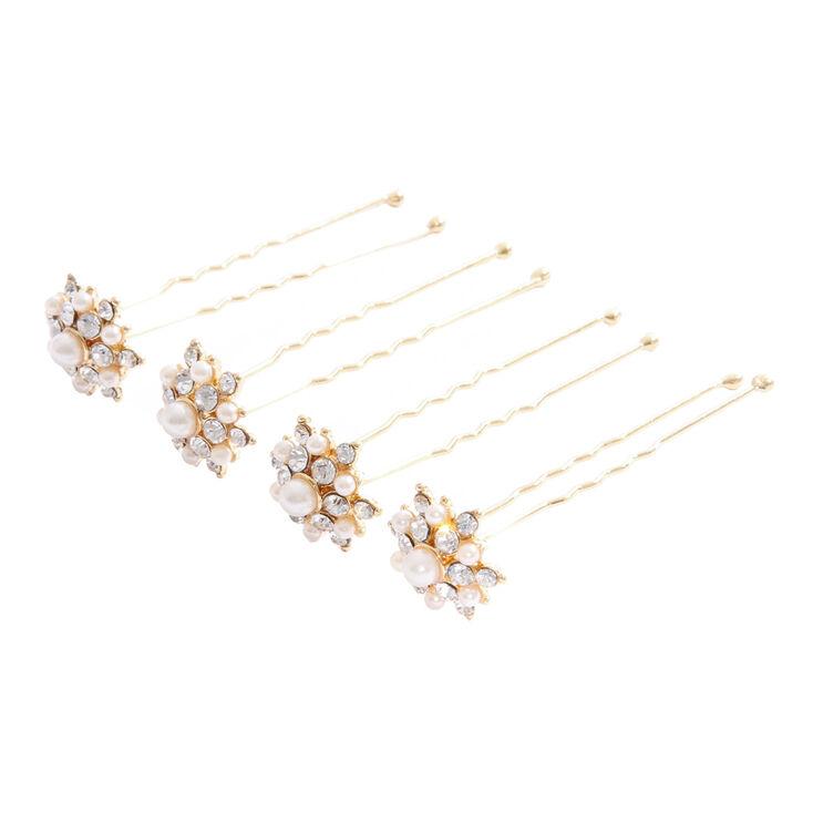 Golden Pearl & Crystal Flower Hair Pins,