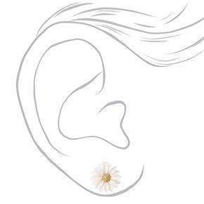 White Daisy Clip-on Stud Earrings,