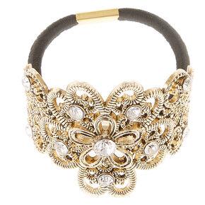 Burnished Gold Tone Filigree Hair Tie,