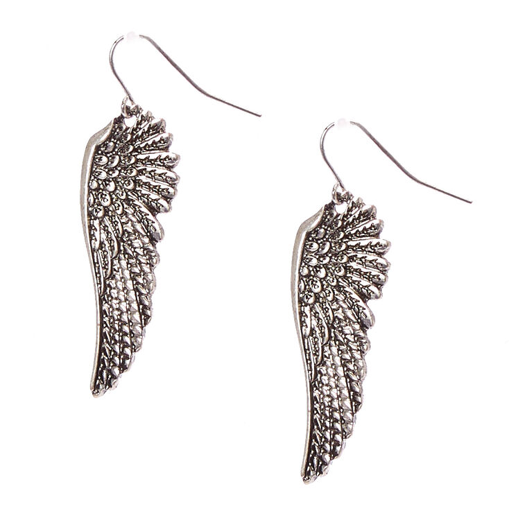 Burnished Silver Wing Drop Earrings,
