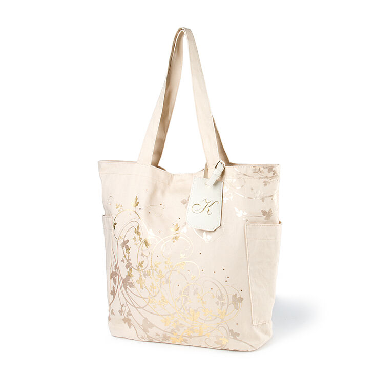 "Bridesmaid Canvas Tote Bag with ""K"" Initial Tag,"